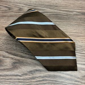 Jos A Bank Brown w/ Blue & Gold Stripe Tie